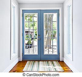 γαλλίδα , αυλή εντός κτιρίου , γυάλινη πόρτα