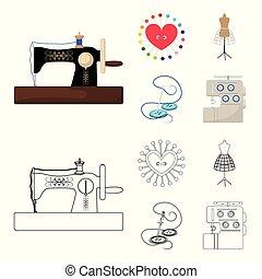 γελοιογραφία , ανδρείκελο , περίγραμμα , ρυθμός , σύμβολο , βελόνα , θέτω , μικροβιοφορέας , ράψιμο , εξοπλισμός , στοκ , web., μαξιλαράκι για καρφίτσες , βελονιάζω , μηχανή , απεικόνιση , clothing., εικόνα , συλλογή