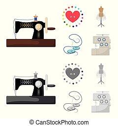 γελοιογραφία , ανδρείκελο , ρυθμός , σύμβολο , βελόνα , θέτω , μικροβιοφορέας , ράψιμο , εξοπλισμός , στοκ , web., μαξιλαράκι για καρφίτσες , μονόχρωμος , βελονιάζω , μηχανή , απεικόνιση , clothing., εικόνα , συλλογή