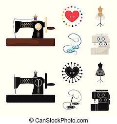 γελοιογραφία , ανδρείκελο , ρυθμός , σύμβολο , βελόνα , θέτω , μικροβιοφορέας , ράψιμο , εξοπλισμός , στοκ , web., μαξιλαράκι για καρφίτσες , βελονιάζω , μηχανή , απεικόνιση , μαύρο , clothing., εικόνα , συλλογή