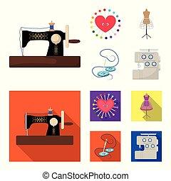 γελοιογραφία , ανδρείκελο , ρυθμός , σύμβολο , βελόνα , θέτω , μικροβιοφορέας , ράψιμο , εξοπλισμός , διαμέρισμα , στοκ , web., μαξιλαράκι για καρφίτσες , βελονιάζω , μηχανή , απεικόνιση , clothing., εικόνα , συλλογή