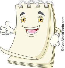 γελοιογραφία , αντίχειραs , χαρτί , πάνω , χαμόγελο