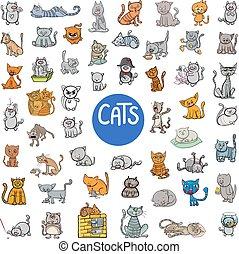 γελοιογραφία , γάτα , γράμμα , μεγάλος , θέτω