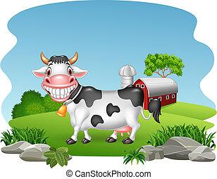 γελοιογραφία , ευτυχισμένος , αγελάδα , με , αγρόκτημα , φόντο