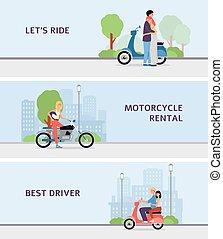 γελοιογραφία , θέτω , renting , υπηρεσία , σημαία , άνθρωποι , όχημα , ενοίκιο , μοτοσικλέτα