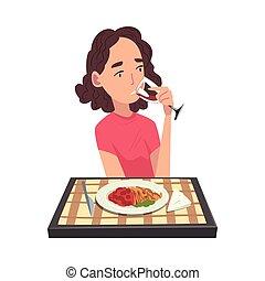 γελοιογραφία , κορίτσι , ανακόπτων , ιλαρός , εικόνα , μικροβιοφορέας , τροφή , γεύμα , κατάλληλος για να φαγωθεί ωμός , νέος , πόσιμο , τραπέζι , υπέροχος , κρασί , κάθονται , απολαμβάνω , τραπεζομάντηλο , γυναίκα