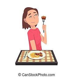 γελοιογραφία , κορίτσι , γεύμα , ανακόπτων , ιλαρός , εικόνα , μικροβιοφορέας , κατάλληλος για να φαγωθεί ωμός , νέος , τραπέζι , υπέροχος , κάθονται , τραπεζομάντηλο , γυναίκα