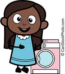 γελοιογραφία , κορίτσι , μηχανή , μαύρο , ακάθιστος , πλύση