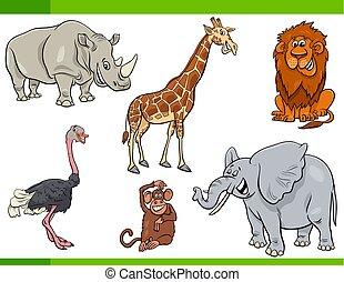 γελοιογραφία , κυνηγετική εκδρομή εν αφρική , ζώο , γράμμα , θέτω