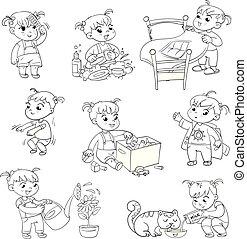 γελοιογραφία , παιδί , καθημερινότητα , δραστηριότητες , θέτω