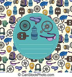 γελοιογραφία , ποδήλατο , εξοπλισμός , seamless, πρότυπο