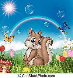 γελοιογραφία , σκίουρος , με , φύση , φόντο
