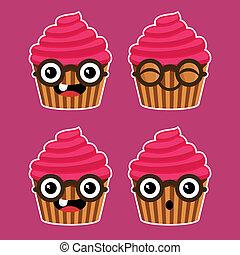 γελοιογραφία , cupcakes , με , γυαλιά