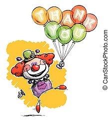 γελωτοποιός , με , μπαλόνι , γνώμη εκφράζω ευχαριστίες σε εσάς