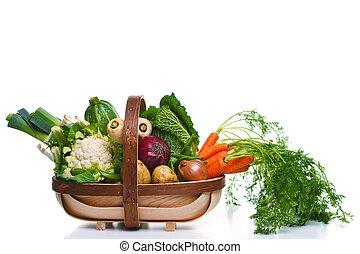 γεμάτος , ενόργανος , λαχανικά , απομονωμένος , άσπρο , trug