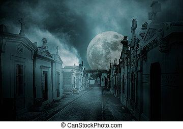 γεμάτος , κοιμητήριο , φεγγάρι