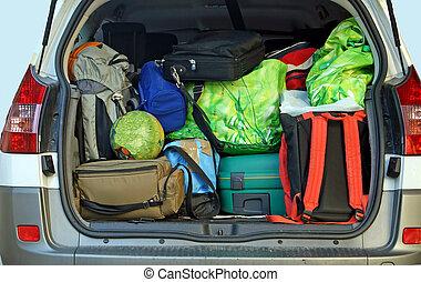 γεμάτος , οικογένεια , αποσκευέs , πολύ , αυτοκίνητο , αναχώρηση , διακοπές , κιβώτιο , έτοιμος