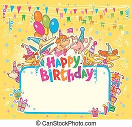 γενέθλια, κάρτα, ευτυχισμένος