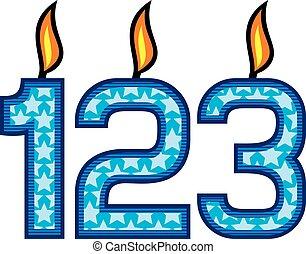 γενέθλια κερί , αριθμόs