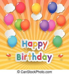 γενέθλια, μπαλόνι, ευτυχισμένος