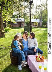 γενεά , multi , campsite , οικογένεια , ευτυχισμένος