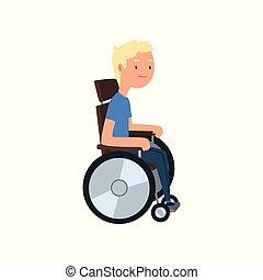 γενική ιδέα , άνθρωποι , αναπηρική καρέκλα , εικόνα , ανάπηρος , μικροβιοφορέας , φόντο , άσπρο , αναμόρφωση , άντραs