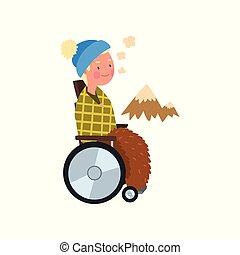 γενική ιδέα , άνθρωποι , αναπηρική καρέκλα , εικόνα , βόλτα , ανάπηρος , μικροβιοφορέας , φόντο , έξω , άσπρο , αναμόρφωση , άντραs