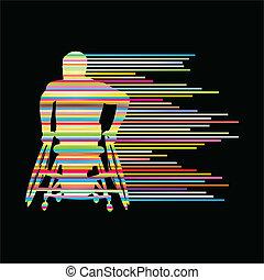 γενική ιδέα , άνθρωποι , αφίσα , αναπηρική καρέκλα , γαλόνι , ανάπηρος , μικροβιοφορέας , φόντο , γινώμενος , άντραs