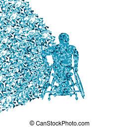 γενική ιδέα , έκρηξη , αναπηρική καρέκλα , αφίσα , αφαιρώ , τριγωνικός , ανάπηρος , πρόσωπο , μικροβιοφορέας , φόντο , απόκομμα , γινώμενος , άντραs