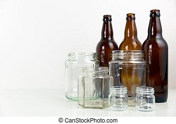 γενική ιδέα , ανακύκλωση , bottles., γυαλί , μπύρα , αδειάζω