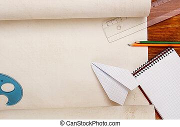 γενική ιδέα , από , ο , χώρος εργασίας , για , ο , αεροπορία , σχεδιαστής