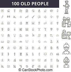 γενική ιδέα , γριά , περίγραμμα , άνθρωποι , θέτω , απεικόνιση , εικόνα , μικροβιοφορέας , γραμμή , αναχωρώ