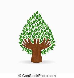 γενική ιδέα , δέντρο , εικόνα , χέρι , πράσινο , ανθρώπινος