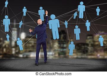 γενική ιδέα , δίκτυο , αρμοδιότητα ακόλουθοι , επικοινωνία , - , σύνδεση , άλλος , έκαστος , δάδα από στουπί και πίσσα
