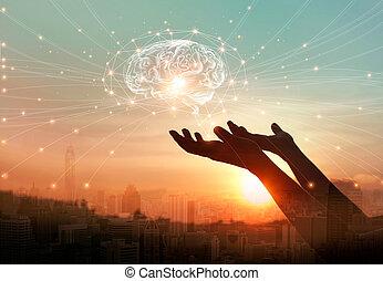 γενική ιδέα , δίκτυο , εγκέφαλοs , επικοινωνία , αφαιρώ , ανάμιξη , γνωριμίεs , αφορών , βάγιο , innovative , τεχνολογία , επιστήμη