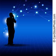 γενική ιδέα , δίκτυο , πρόσωπο , μέσα ενημέρωσης , τηλέφωνο , λόγια , :, τεχνολογία