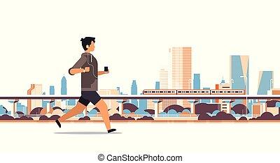 γενική ιδέα , διαμέρισμα , υπαίθριος , τρόπος ζωής , φόντο , γεμάτος , υγιεινός , ακουστικά , μήκος , τρέξιμο , smartphone, μουσική , ουρανοξύστης , ακούω , καταλληλότητα , cityscape , οριζόντιος , άντρας , άντραs