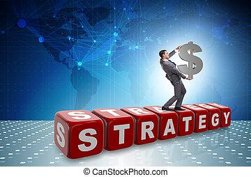 γενική ιδέα , δολάριο αναχωρώ , κράτημα , επιχειρηματίας , στρατηγική
