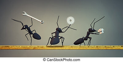 γενική ιδέα , δουλειά , ζεύγος ζώων , από , μυρμήγκι