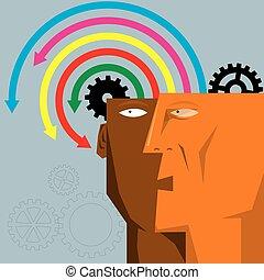 γενική ιδέα , ενδυμασία , είδηση , τεχνητό , brain., βέλος διάταξη