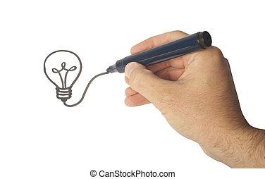 γενική ιδέα , επιτυχία , ιδέα , χέρι , βολβός , ζωγραφική