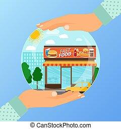 γενική ιδέα , επιχείρηση , άνοιγμα , τροφή , γρήγορα , θεσμός