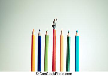 γενική ιδέα , επιχείρηση , ανώτατος , μινιατούρα , επιχειρηματίας , pencil., κόκκινο