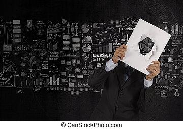 γενική ιδέα , επιχείρηση , δείχνω , καλύπτω , χέρι , βιβλίο , φόντο , κενό , επιχειρηματίας , στρατηγική