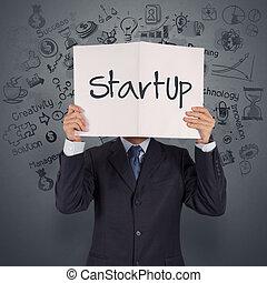 γενική ιδέα , επιχείρηση , δείχνω , startup , χέρι , βιβλίο , επιχειρηματίας
