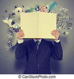 γενική ιδέα , επιχείρηση , επιτυχία , δείχνω , χέρι , βιβλίο , επιχειρηματίας