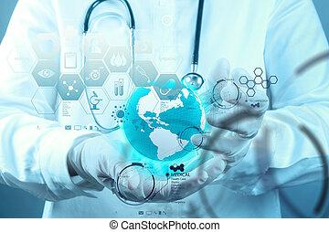 γενική ιδέα , εργαζόμενος , γιατρός , ιατρικός , μοντέρνος , χέρι , φάρμακο , ηλεκτρονικός υπολογιστής , επεμβαίνω