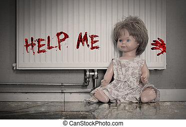 γενική ιδέα , κούκλα , - , αιματώδης , κατάχρηση , παιδί