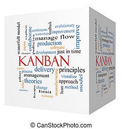 γενική ιδέα , κύβος , λέξη , kanban, σύνεφο , 3d
