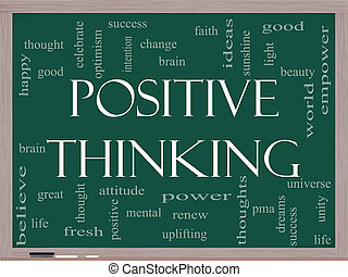 γενική ιδέα , λέξη , σκεπτόμενος , θετικός , μαυροπίνακας , σύνεφο